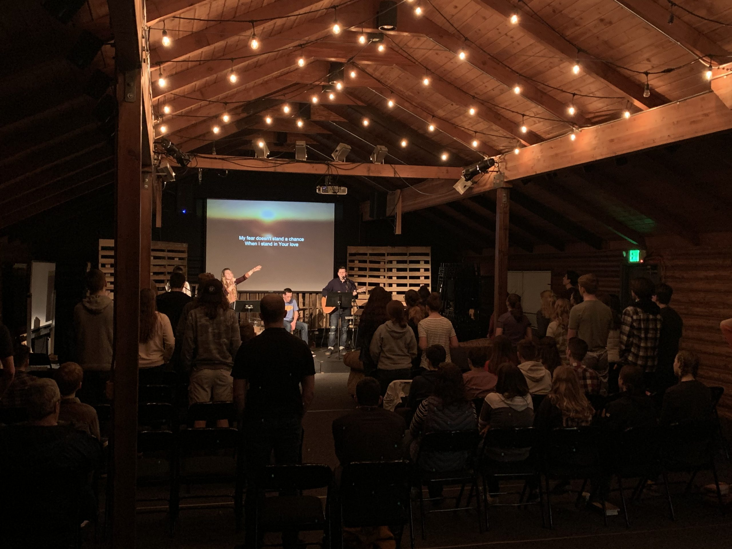 HS worship in log cabin 2